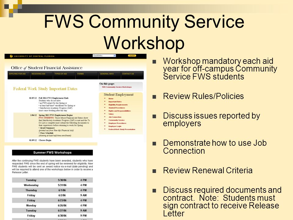 FWS Community Service Workshop Workshop mandatory each aid year for off-campus Community Service FWS students Review Rules/Policies Discuss issues reported by employers Demonstrate how to use Job Connection Review Renewal Criteria Discuss required documents and contract.
