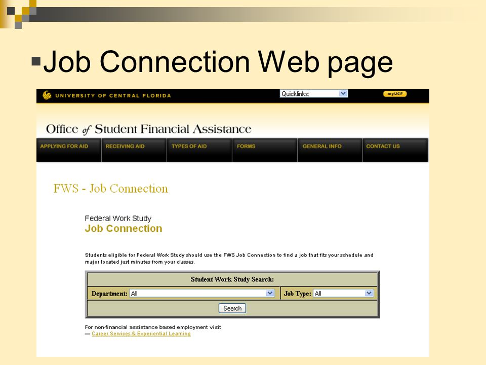  Job Connection Web page
