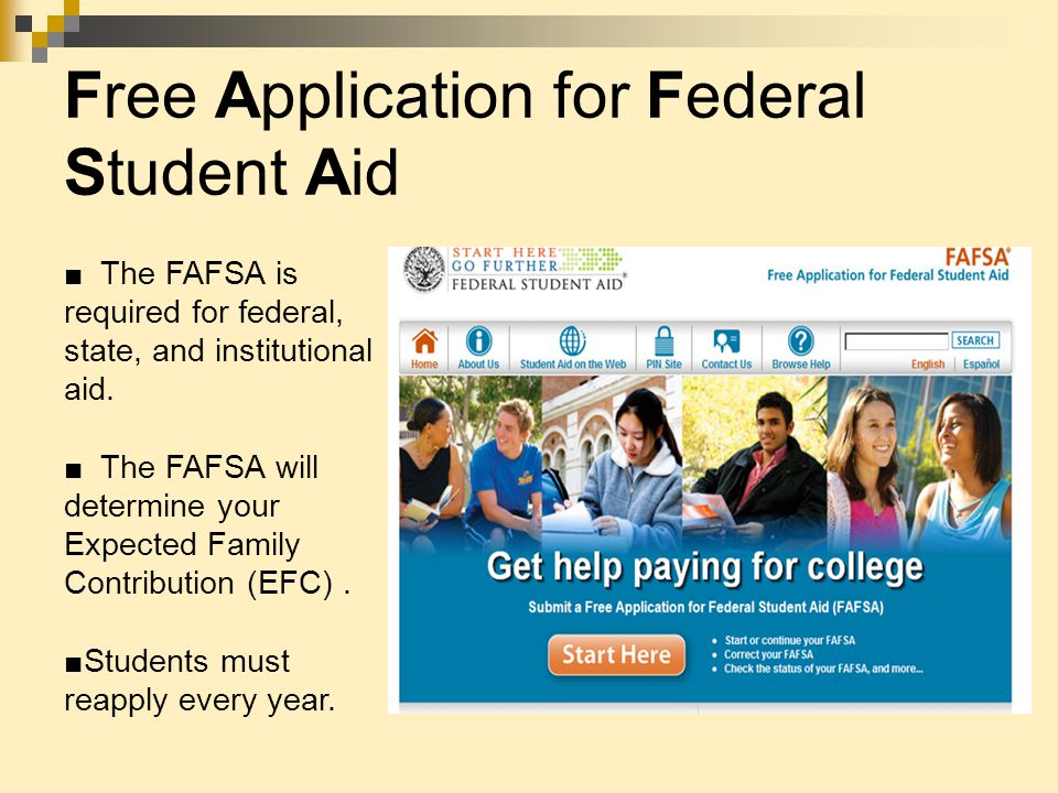 Free Application for Federal Student Aid ■ The FAFSA is required for federal, state, and institutional aid.