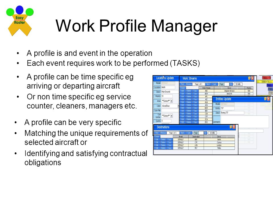 Work Profile Manager A profile is and event in the operation Each event requires work to be performed (TASKS) A profile can be time specific eg arriving or departing aircraft Or non time specific eg service counter, cleaners, managers etc.