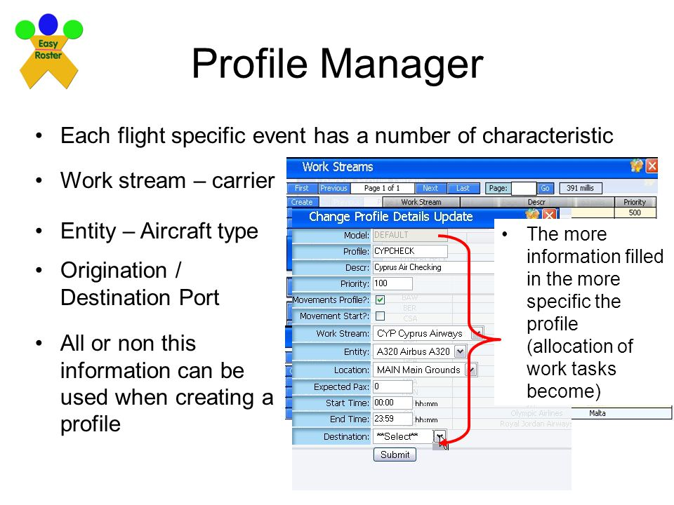Profile Manager Each flight specific event has a number of characteristic Work stream – carrier Entity – Aircraft type Origination / Destination Port