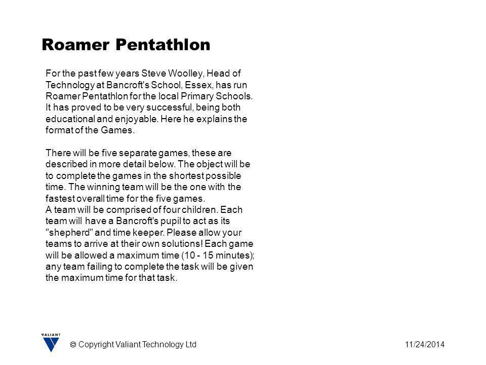 11/24/2014  Copyright Valiant Technology Ltd Roamer Pentathlon For the past few years Steve Woolley, Head of Technology at Bancroft's School, Essex,