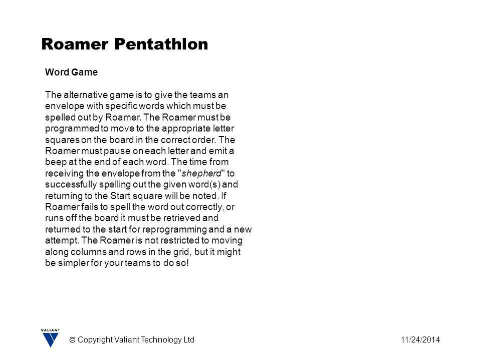 11/24/2014  Copyright Valiant Technology Ltd Roamer Pentathlon Word Game The alternative game is to give the teams an envelope with specific words wh