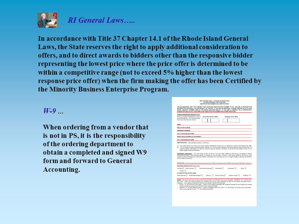 In accordance with Title 37 Chapter 14.1 of the Rhode Island General Laws, the State reserves the right to apply additional consideration to offers, and to direct awards to bidders other than the responsive bidder representing the lowest price where the price offer is determined to be within a competitive range (not to exceed 5% higher than the lowest response price offer) when the firm making the offer has been Certified by the Minority Business Enterprise Program.