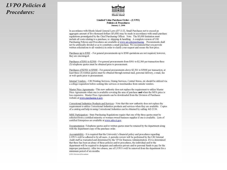 LVPO Policies & Procedures: