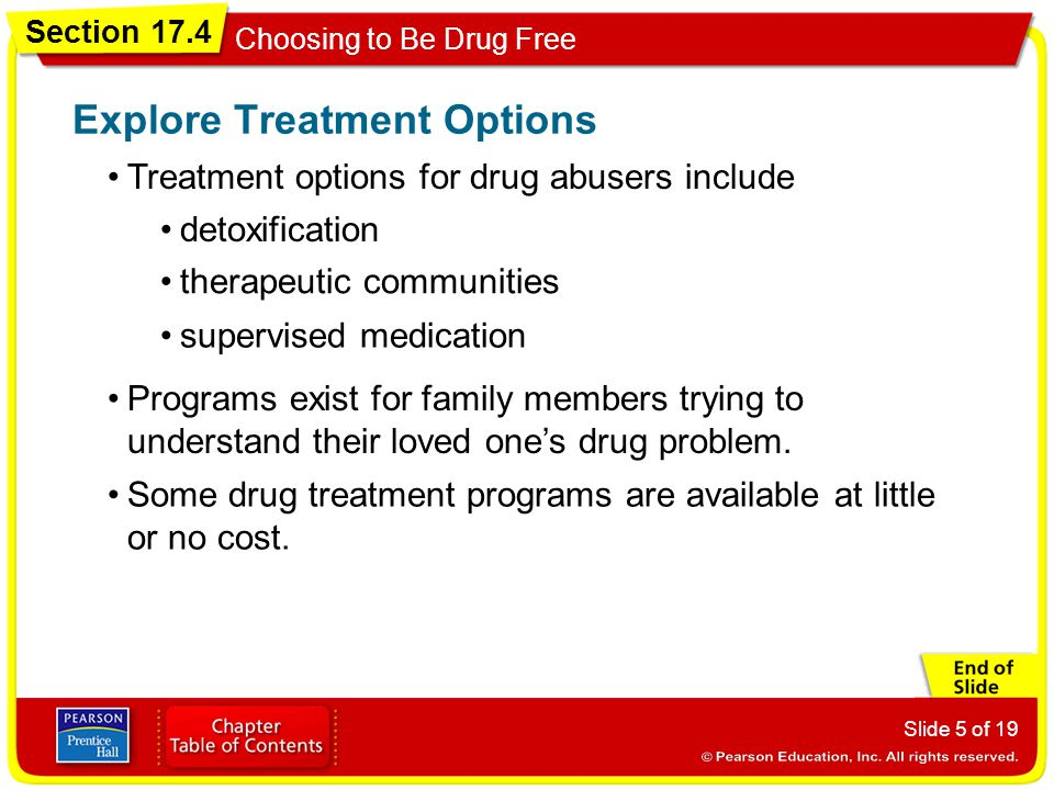Section 17.4 Choosing to Be Drug Free Slide 5 of 19 Treatment options for drug abusers include Explore Treatment Options detoxification therapeutic co