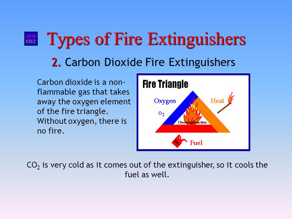Types of Fire Extinguishers 2. 2. Carbon Dioxide Fire Extinguishers CO 2 is very cold as it comes out of the extinguisher, so it cools the fuel as wel