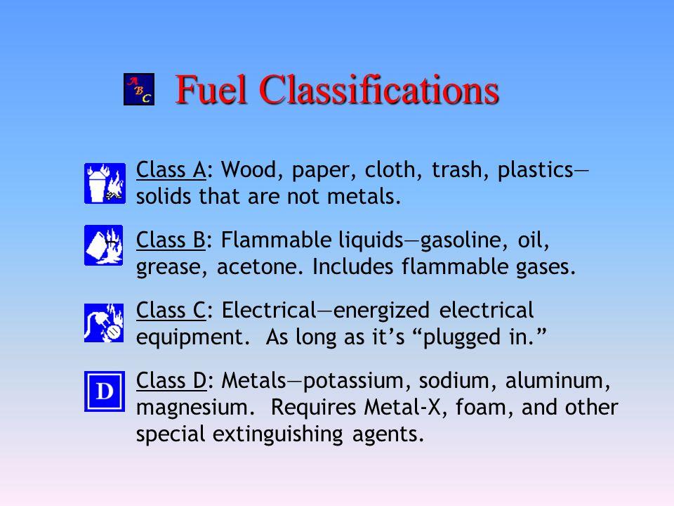 Fuel Classifications Class A: Wood, paper, cloth, trash, plastics— solids that are not metals. Class B: Flammable liquids—gasoline, oil, grease, aceto