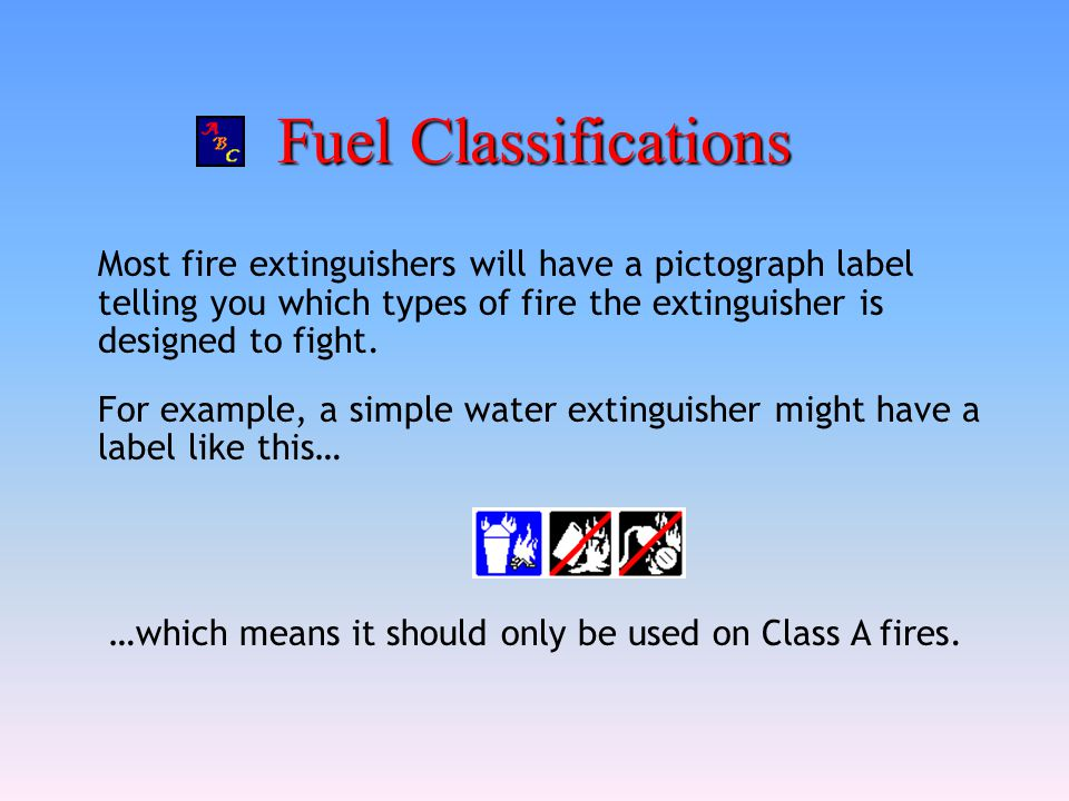 Fuel Classifications Most fire extinguishers will have a pictograph label telling you which types of fire the extinguisher is designed to fight. For e
