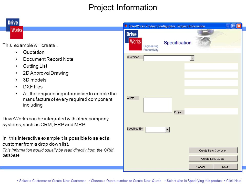Project Information Select a Customer or Create New Customer This example will create..