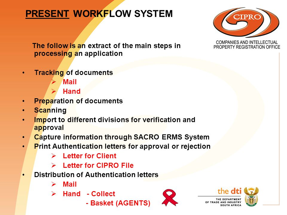 WORKFLOW SYSTEM AFTER 30 July 2002 Tracking of documents  Mail  Hand: Collect  Basket (only for agents)  E-mail  Docex Preparation of documents Scanning Import to different divisions for verification and approval Capture information through SACRO ERMS System