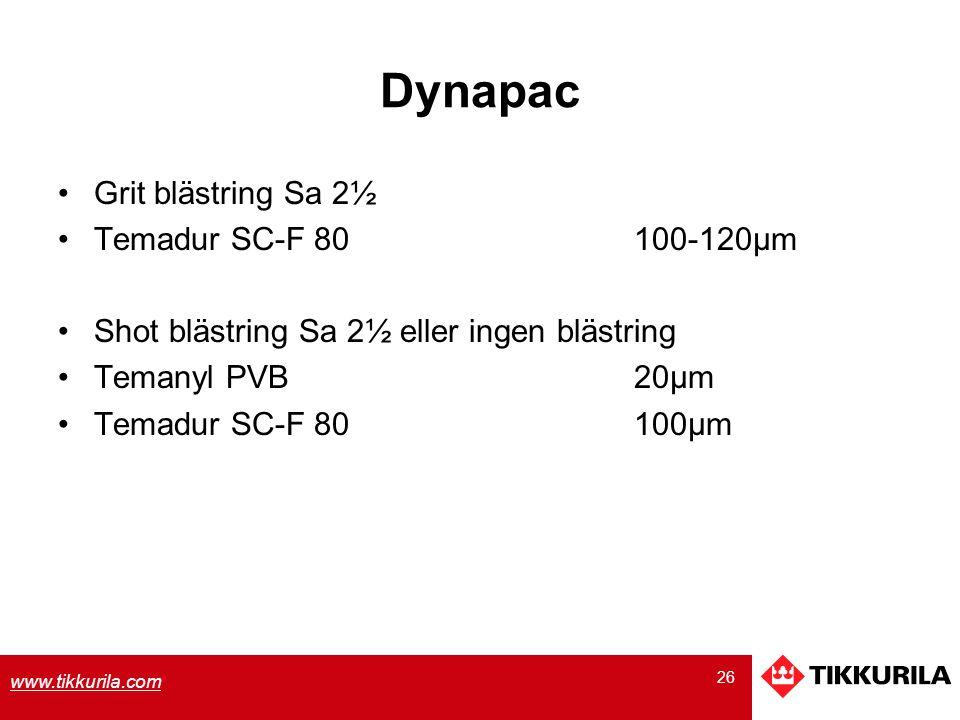 26 www.tikkurila.com Dynapac Grit blästring Sa 2½ Temadur SC-F 80100-120µm Shot blästring Sa 2½ eller ingen blästring Temanyl PVB20µm Temadur SC-F 801