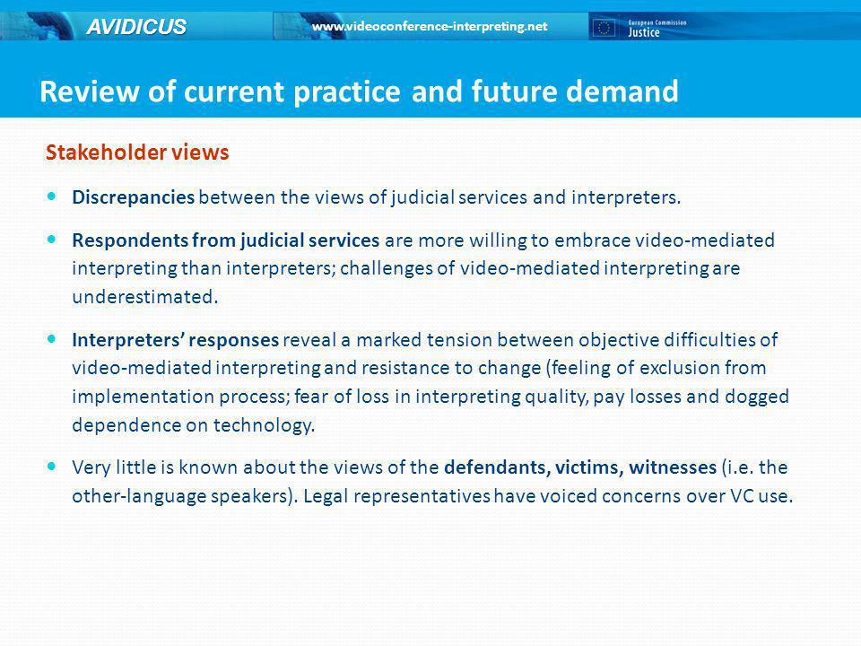 www.videoconference-interpreting.net AVIDICUS Stakeholder views Discrepancies between the views of judicial services and interpreters.