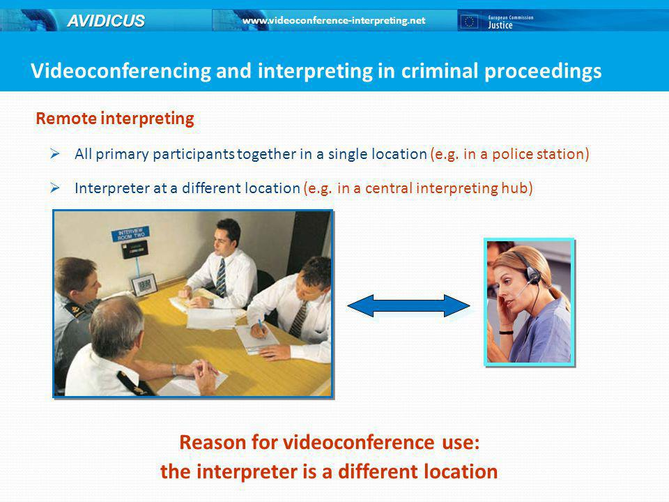 www.videoconference-interpreting.net AVIDICUS Remote interpreting  All primary participants together in a single location (e.g.