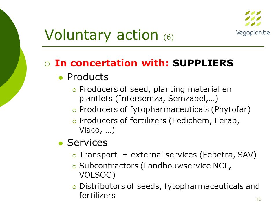 10 Voluntary action (6)  In concertation with: SUPPLIERS Products  Producers of seed, planting material en plantlets (Intersemza, Semzabel,…)  Producers of fytopharmaceuticals (Phytofar)  Producers of fertilizers (Fedichem, Ferab, Vlaco, …) Services  Transport = external services (Febetra, SAV)  Subcontractors (Landbouwservice NCL, VOLSOG)  Distributors of seeds, fytopharmaceuticals and fertilizers
