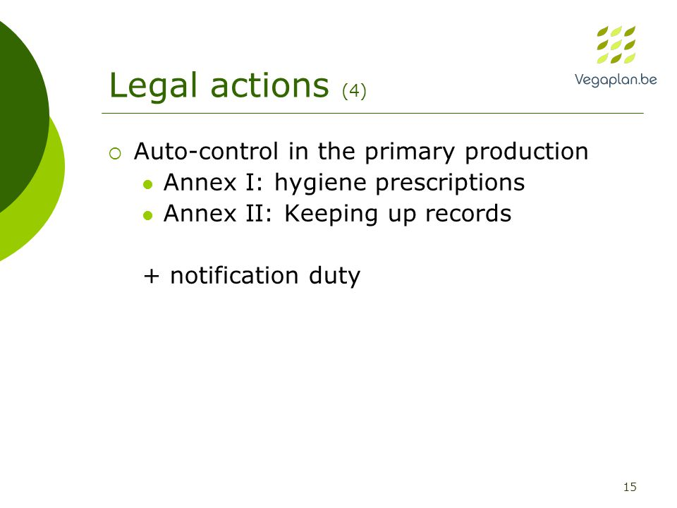 15 Legal actions (4)  Auto-control in the primary production Annex I: hygiene prescriptions Annex II: Keeping up records + notification duty