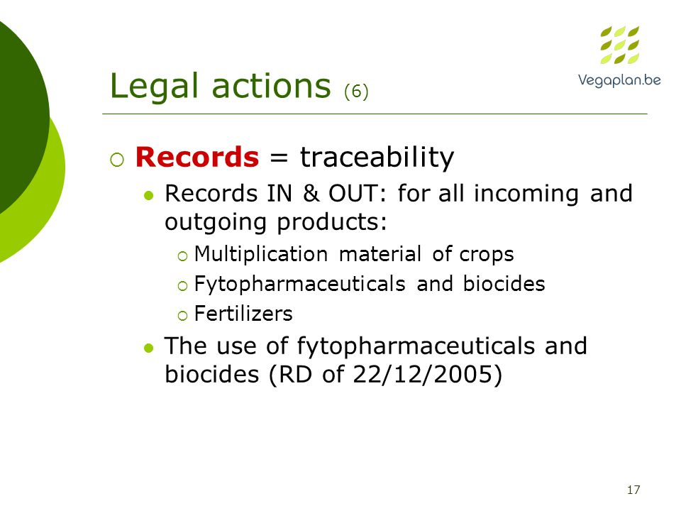 17 Legal actions (6)  Records = traceability Records IN & OUT: for all incoming and outgoing products:  Multiplication material of crops  Fytopharmaceuticals and biocides  Fertilizers The use of fytopharmaceuticals and biocides (RD of 22/12/2005)