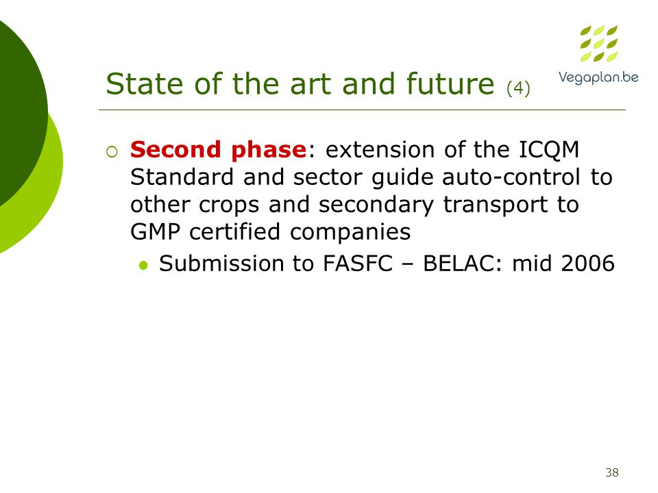 38 State of the art and future (4)  Second phase: extension of the ICQM Standard and sector guide auto-control to other crops and secondary transport to GMP certified companies Submission to FASFC – BELAC: mid 2006