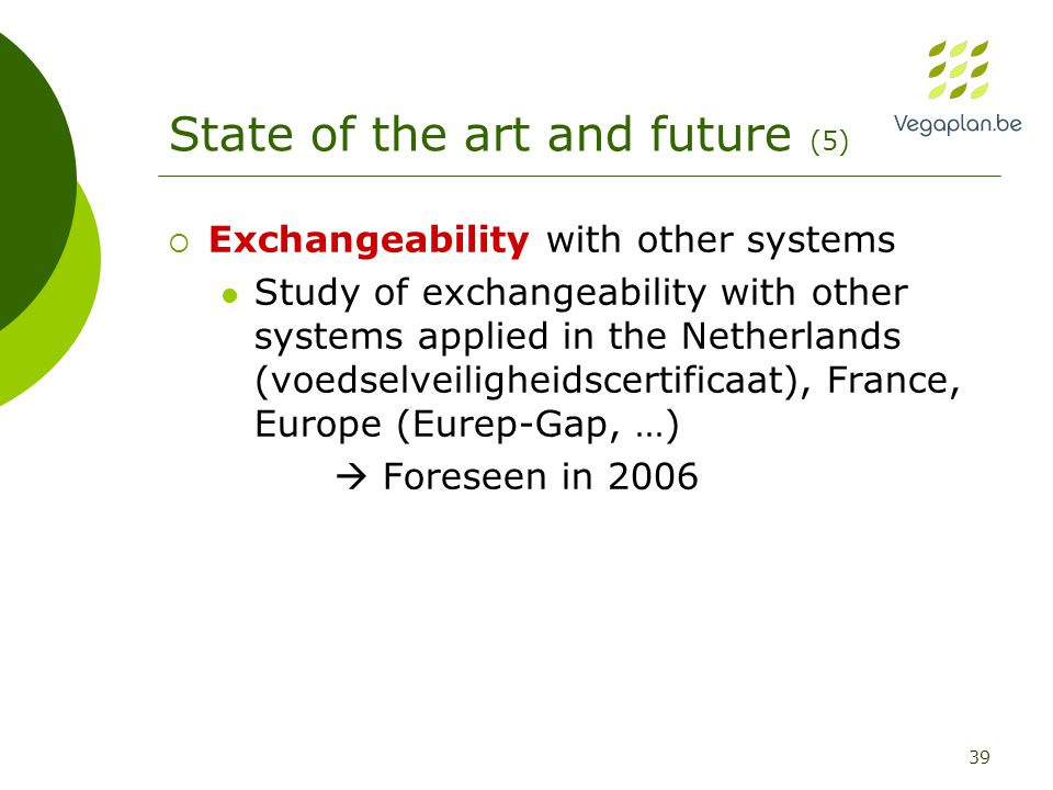 39 State of the art and future (5)  Exchangeability with other systems Study of exchangeability with other systems applied in the Netherlands (voedselveiligheidscertificaat), France, Europe (Eurep-Gap, …)  Foreseen in 2006