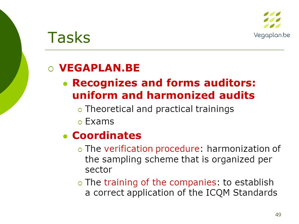 49 Tasks  VEGAPLAN.BE Recognizes and forms auditors: uniform and harmonized audits  Theoretical and practical trainings  Exams Coordinates  The verification procedure: harmonization of the sampling scheme that is organized per sector  The training of the companies: to establish a correct application of the ICQM Standards