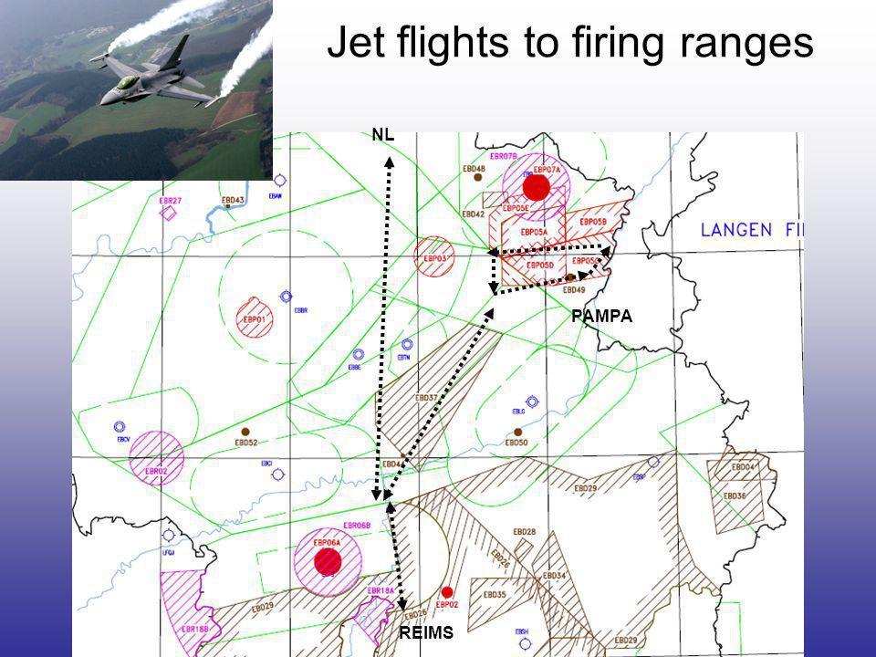 Jet flights to firing ranges REIMS NL PAMPA