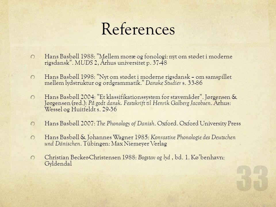 References Hans Basbøll 1988: Mellem moræ og fonologi: nyt om stødet i moderne rigsdansk .