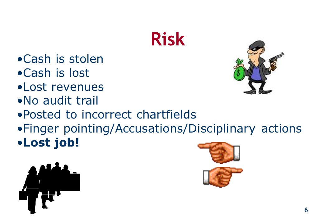 5 First, lets talk about risk and controls…. Who or what is at risk?