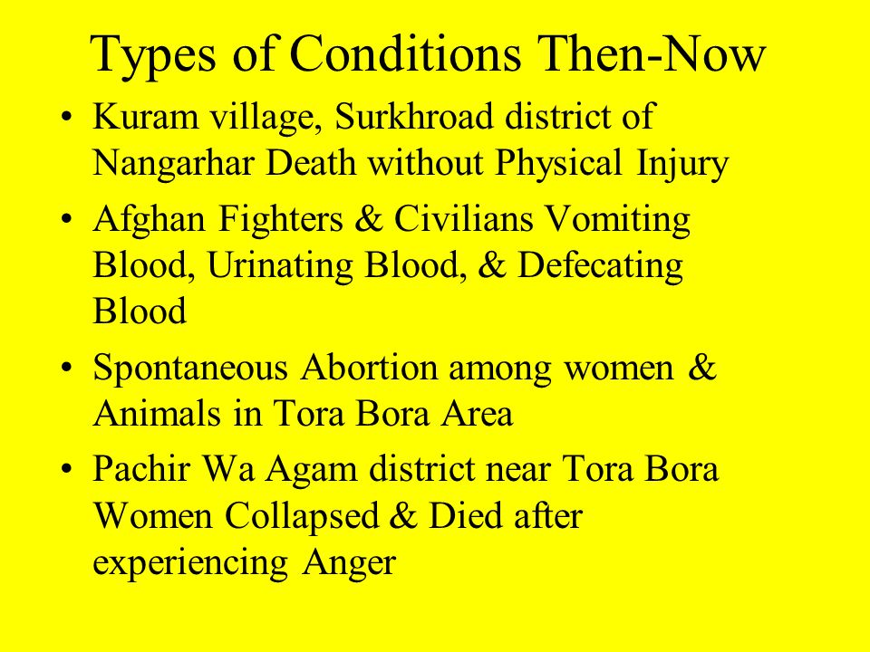 Types of Conditions Then-Now Kuram village, Surkhroad district of Nangarhar Death without Physical Injury Afghan Fighters & Civilians Vomiting Blood, Urinating Blood, & Defecating Blood Spontaneous Abortion among women & Animals in Tora Bora Area Pachir Wa Agam district near Tora Bora Women Collapsed & Died after experiencing Anger