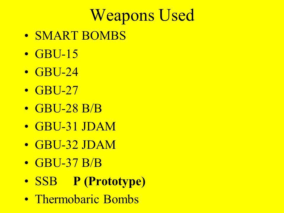 Weapons Used SMART BOMBS GBU-15 GBU-24 GBU-27 GBU-28 B/B GBU-31 JDAM GBU-32 JDAM GBU-37 B/B SSB P (Prototype) Thermobaric Bombs