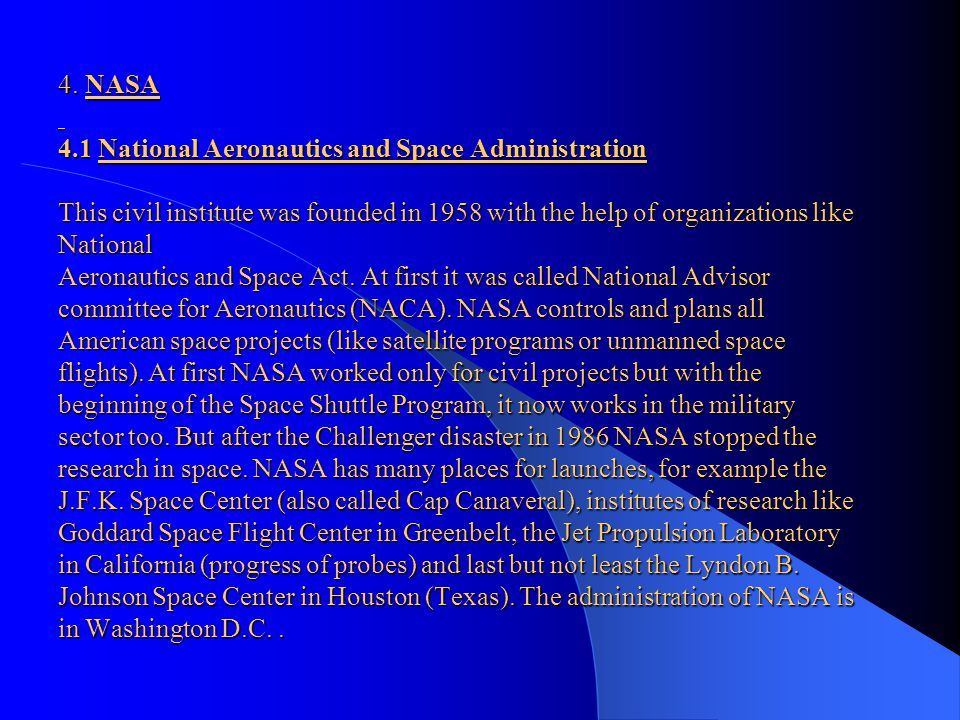 3.2 John F. Kennedy's enthusiasm for technology - source of the name of the Space Center John F. Kennedy was committed to technology and progress. He