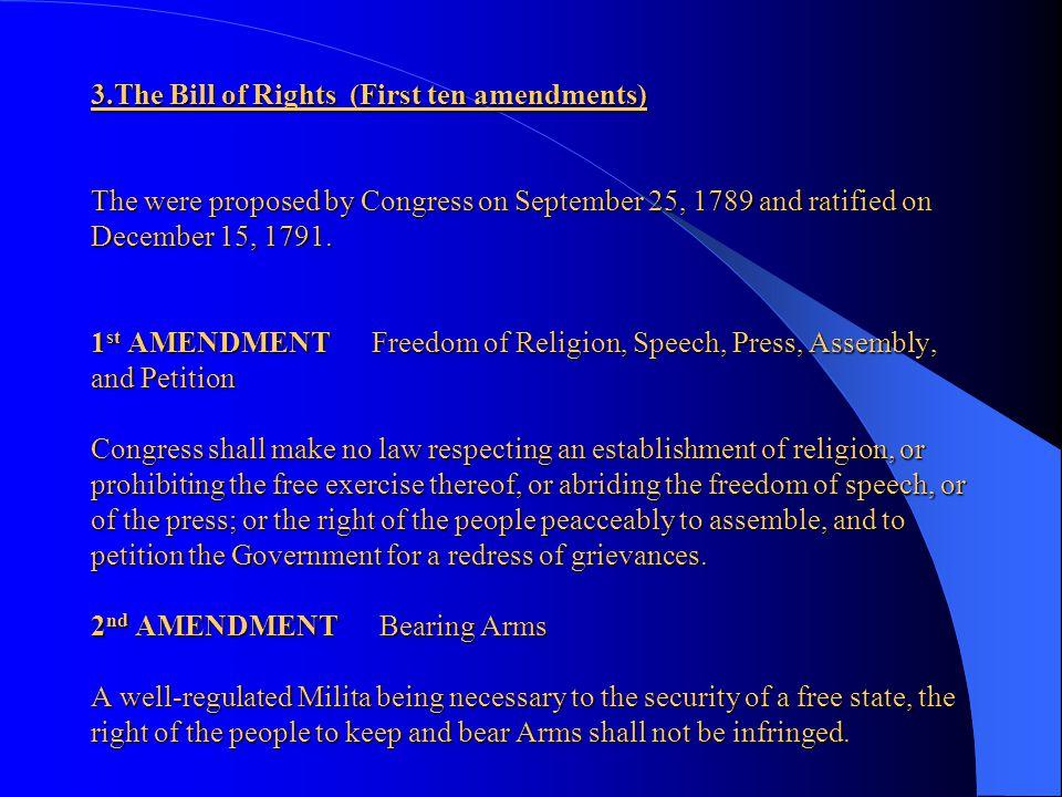 2.3) Congress (legislative) Congress consists of two parts: a) The Senate b) The House of Representatives a) The Senate consists of 100 Senators, two