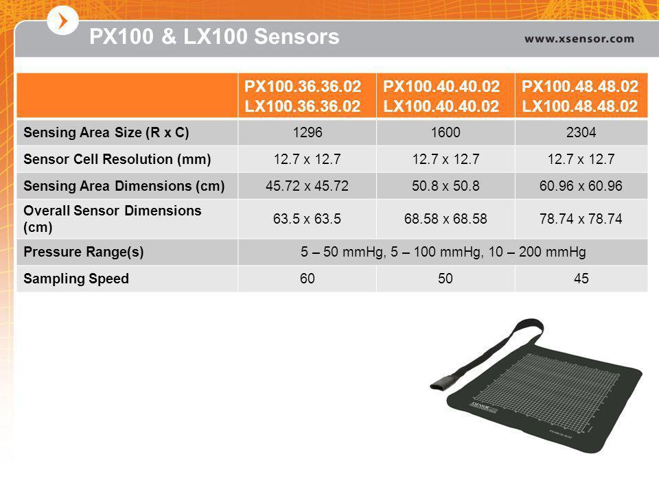 PX100 & LX100 Sensors PX100.36.36.02 LX100.36.36.02 PX100.40.40.02 LX100.40.40.02 PX100.48.48.02 LX100.48.48.02 Sensing Area Size (R x C)129616002304 Sensor Cell Resolution (mm)12.7 x 12.7 Sensing Area Dimensions (cm)45.72 x 45.7250.8 x 50.860.96 x 60.96 Overall Sensor Dimensions (cm) 63.5 x 63.568.58 x 68.5878.74 x 78.74 Pressure Range(s)5 – 50 mmHg, 5 – 100 mmHg, 10 – 200 mmHg Sampling Speed605045