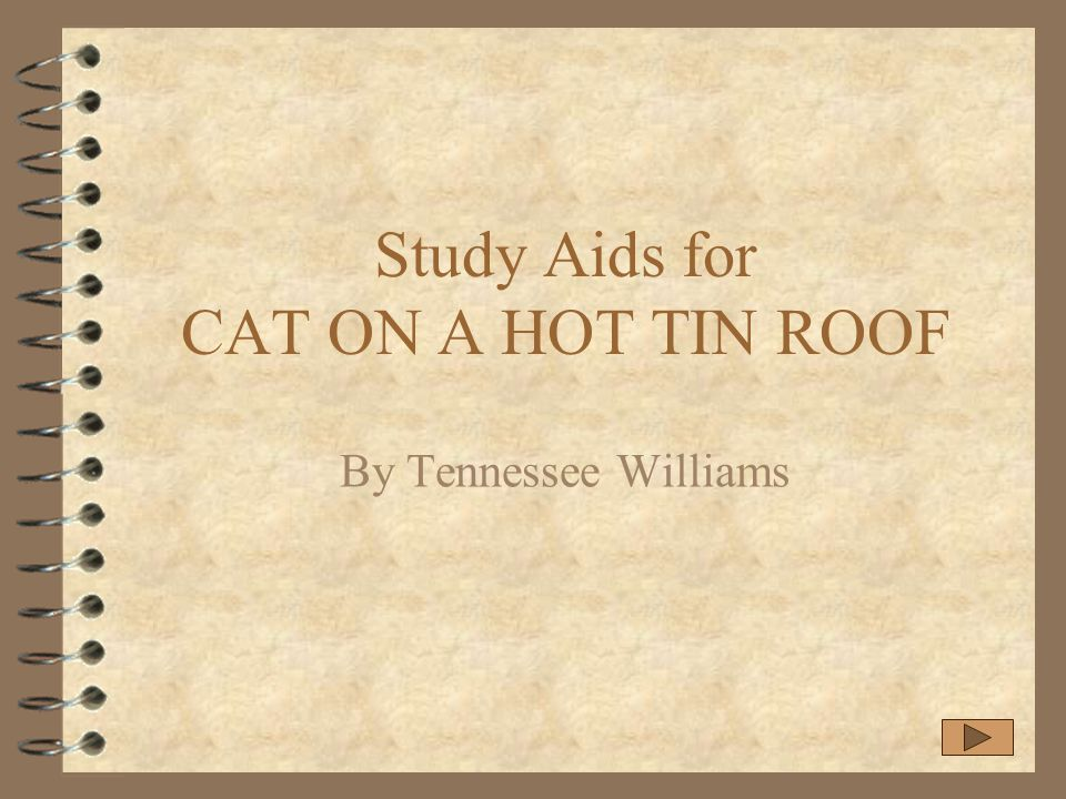 Study Aids for CAT ON A HOT TIN ROOF By Tennessee Williams