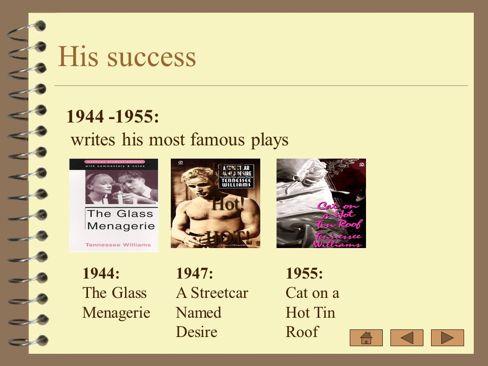 His success 1944 -1955: writes his most famous plays 1944: The Glass Menagerie 1947: A Streetcar Named Desire 1955: Cat on a Hot Tin Roof Hot!Hot!HOT!