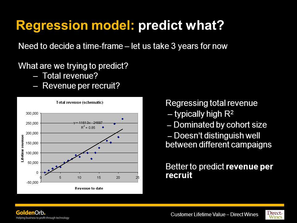 Customer Lifetime Value – Direct Wines Regression model: predict what.