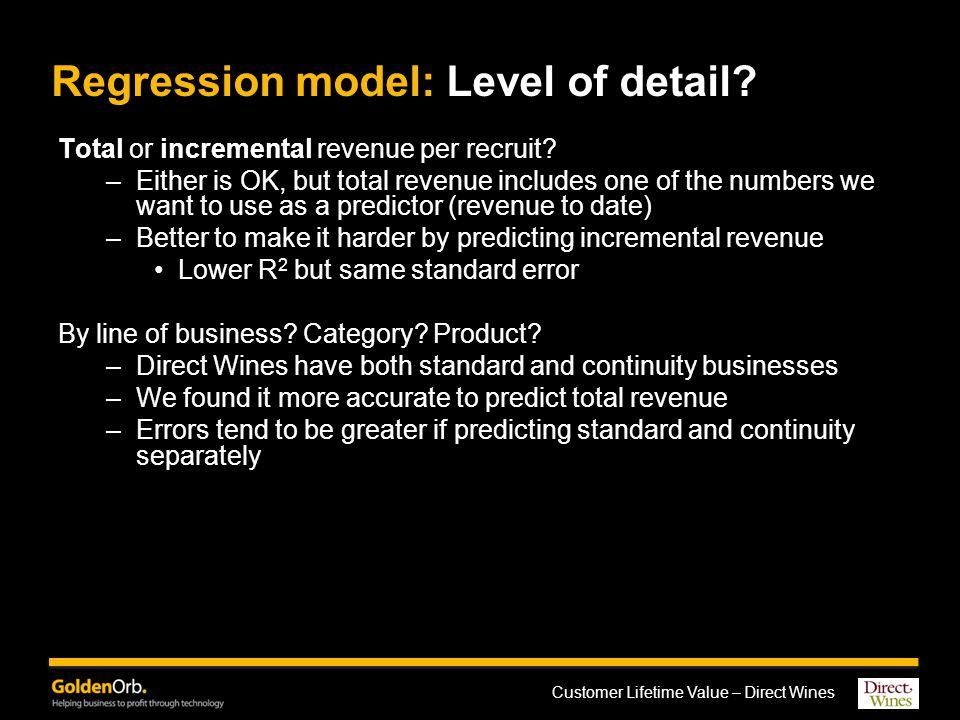 Customer Lifetime Value – Direct Wines Regression model: Level of detail.
