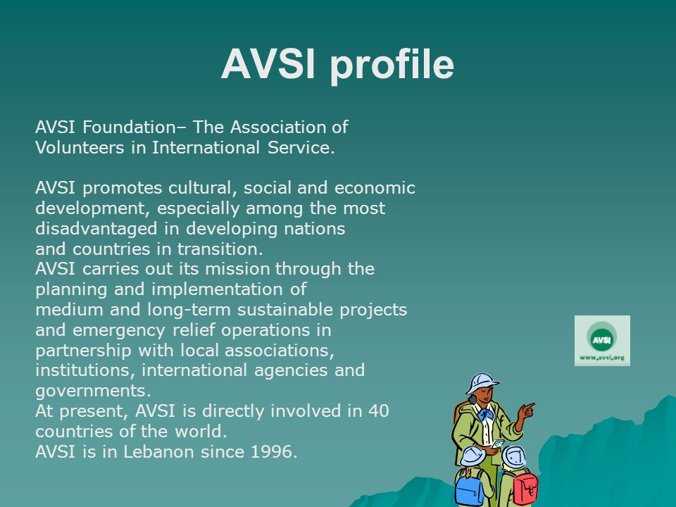 AVSI profile AVSI Foundation– The Association of Volunteers in International Service.