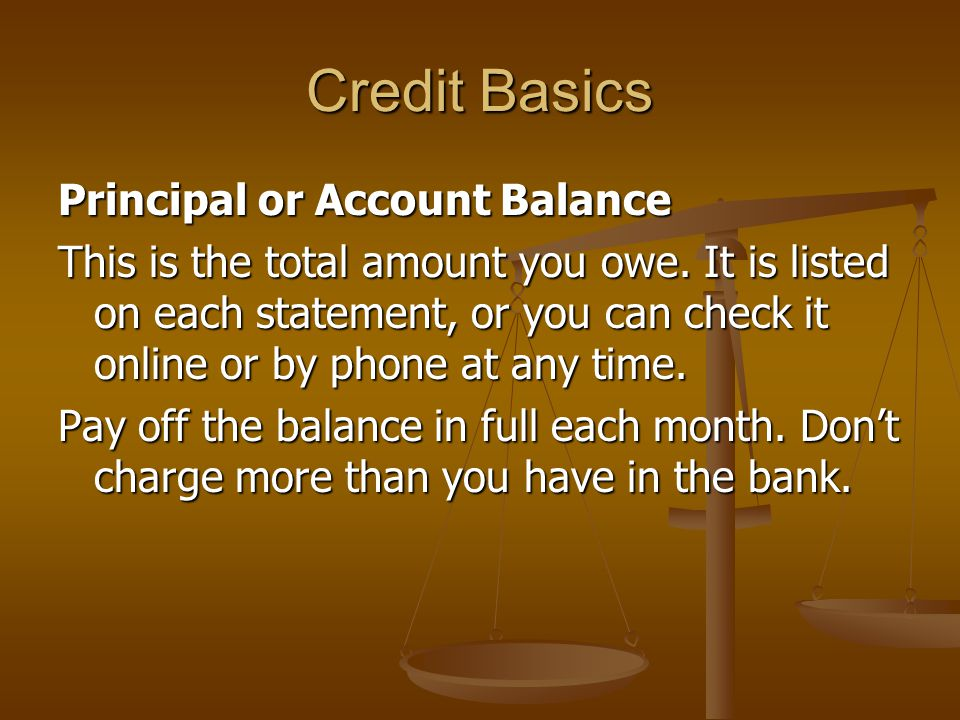 Credit Basics Principal or Account Balance This is the total amount you owe.