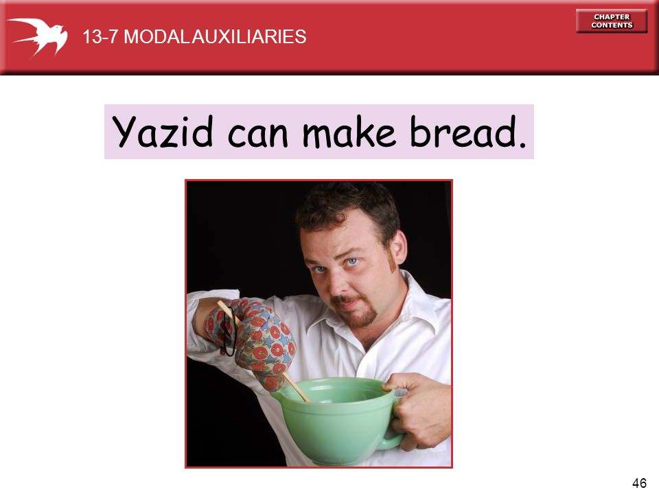 46 Yazid can make bread. 13-7 MODAL AUXILIARIES