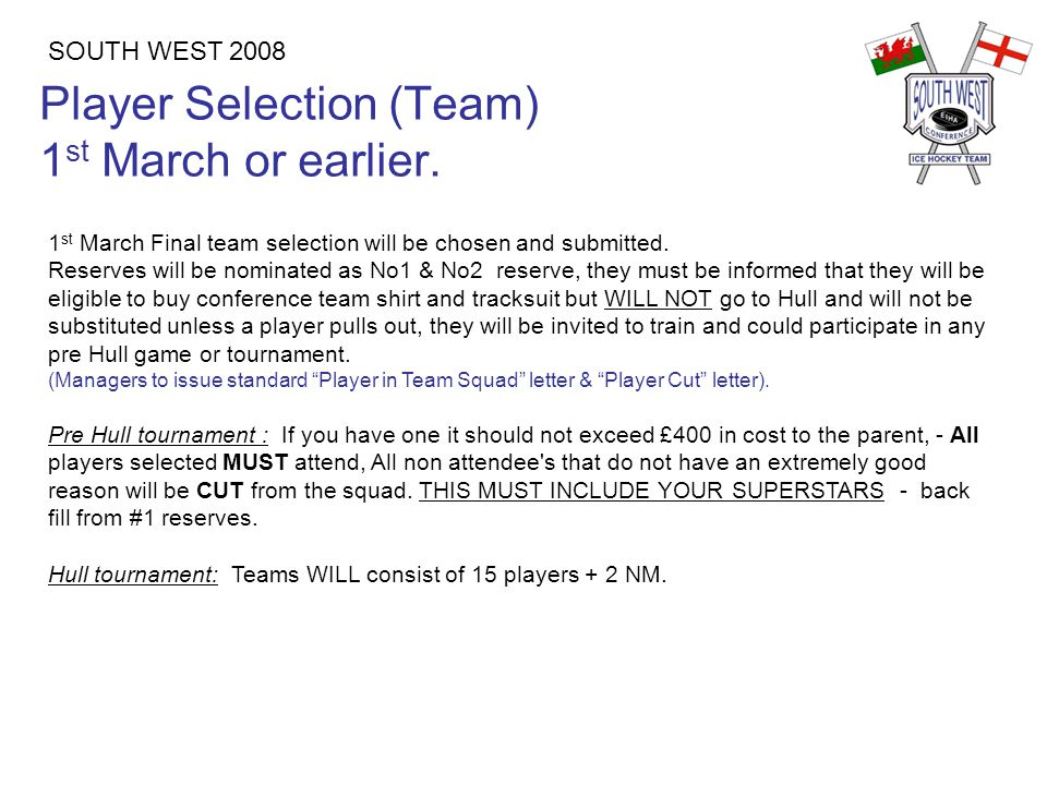 Player Selection (Team) 1 st March or earlier.