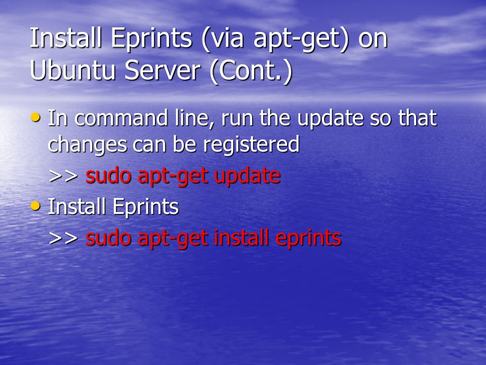 Install Eprints (via apt-get) on Ubuntu Server (Cont.) Ikuti Petunjuk instalasi selanjutnya Ikuti Petunjuk instalasi selanjutnya