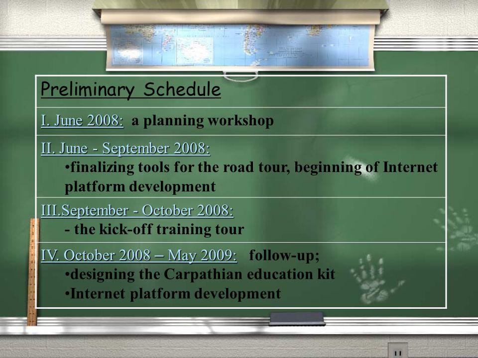 Preliminary Schedule I. June 2008: I. June 2008: a planning workshop II.