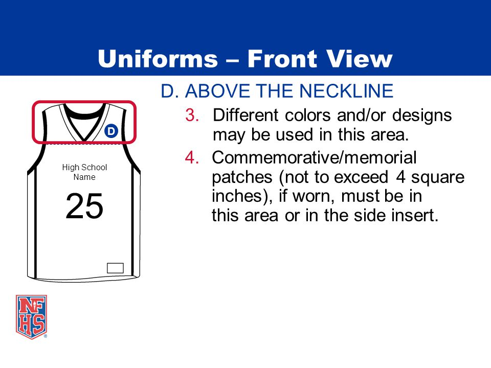 Uniforms – Front View D. ABOVE THE NECKLINE 3.Different colors and/or designs may be used in this area. 4.Commemorative/memorial patches (not to excee