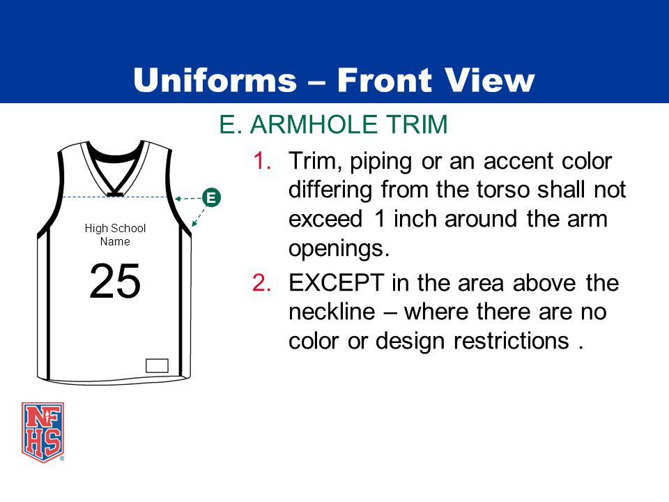 Uniforms – Front View E. ARMHOLE TRIM 1.Trim, piping or an accent color differing from the torso shall not exceed 1 inch around the arm openings. 2.EX