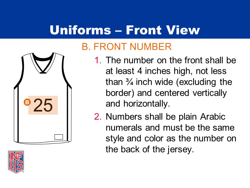 Uniforms – Front View B. FRONT NUMBER 1.The number on the front shall be at least 4 inches high, not less than ¾ inch wide (excluding the border) and