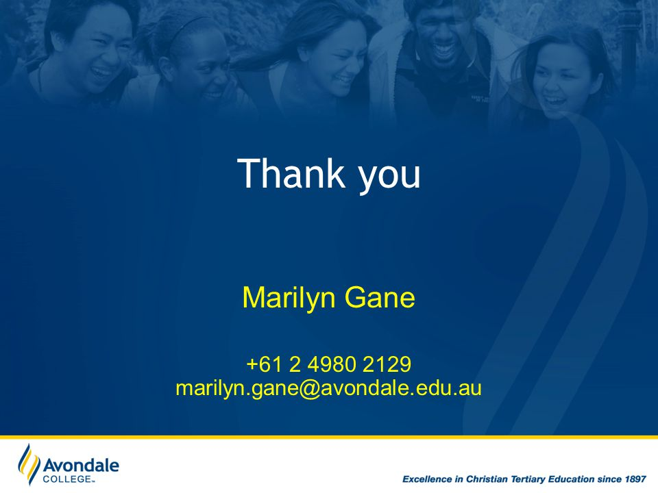 Thank you Marilyn Gane +61 2 4980 2129 marilyn.gane@avondale.edu.au