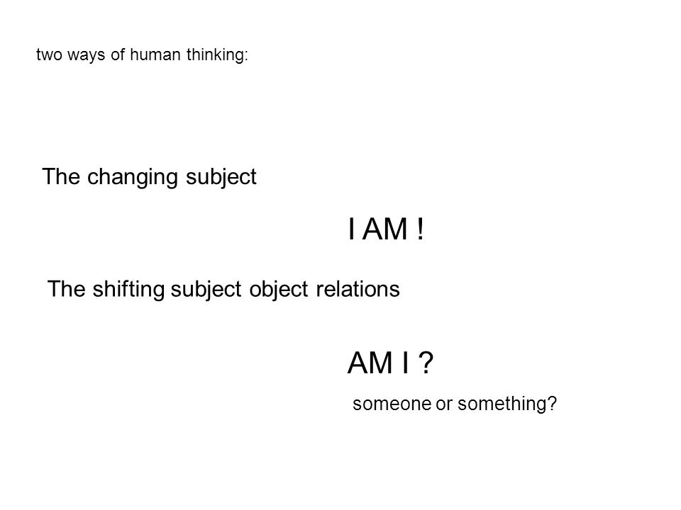 The changing subject I AM . The shifting subject object relations AM I .