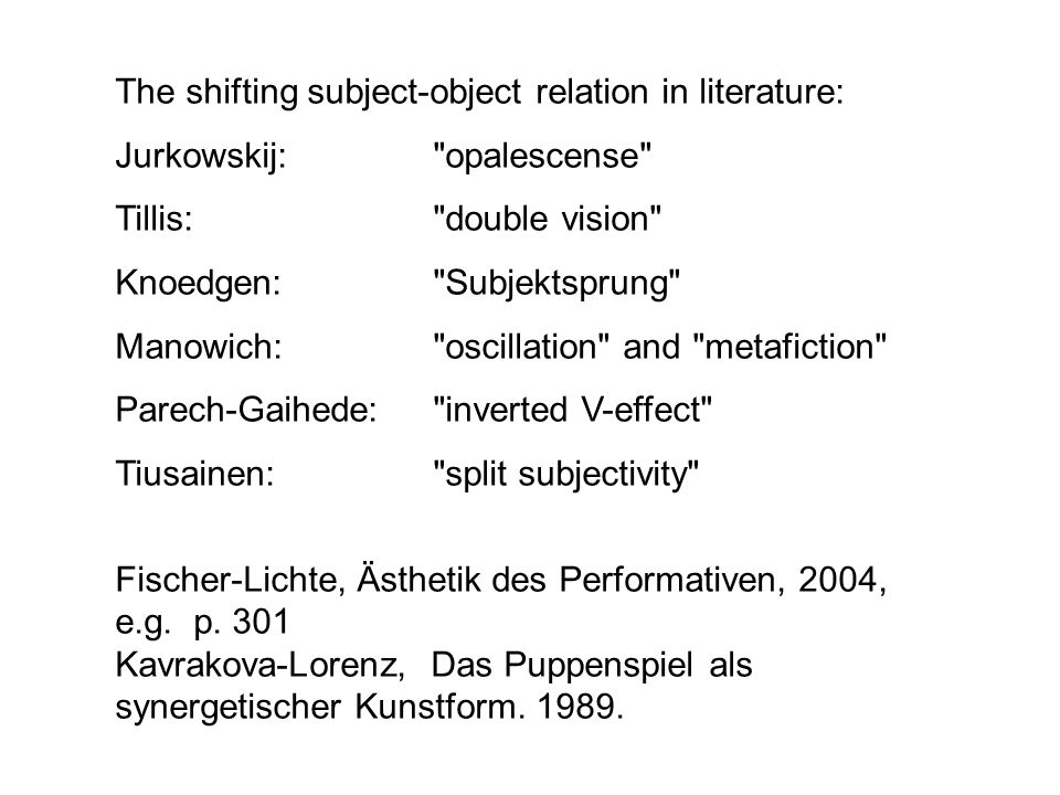 The shifting subject-object relation in literature: Jurkowskij: opalescense Tillis: double vision Knoedgen: Subjektsprung Manowich: oscillation and metafiction Parech-Gaihede: inverted V-effect Tiusainen: split subjectivity Fischer-Lichte, Ästhetik des Performativen, 2004, e.g.