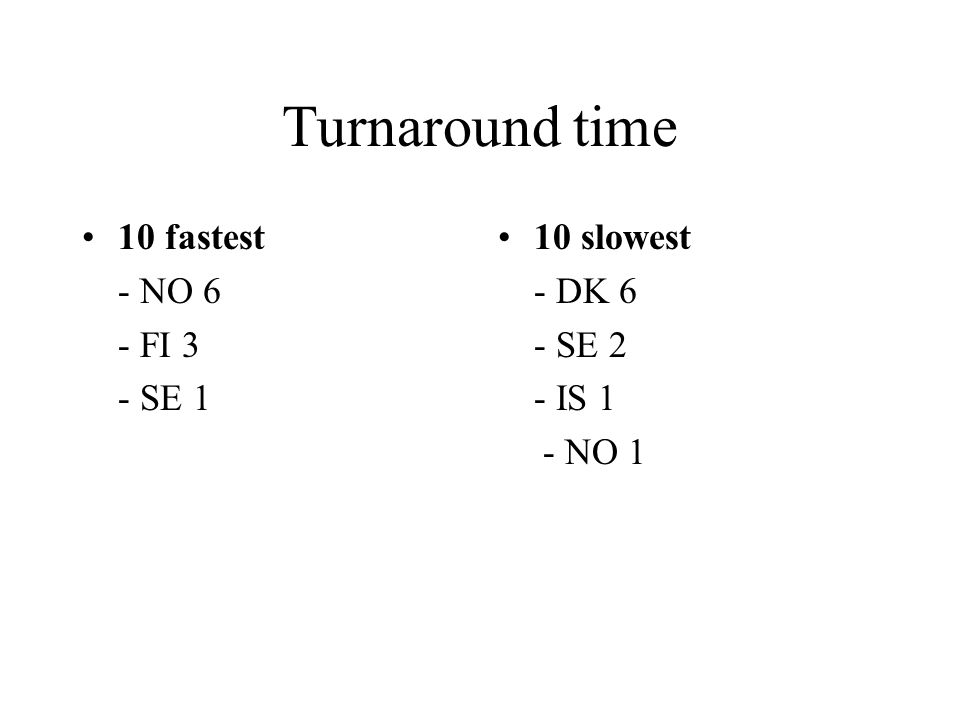 Turnaround time 10 fastest - NO 6 - FI 3 - SE 1 10 slowest - DK 6 - SE 2 - IS 1 - NO 1