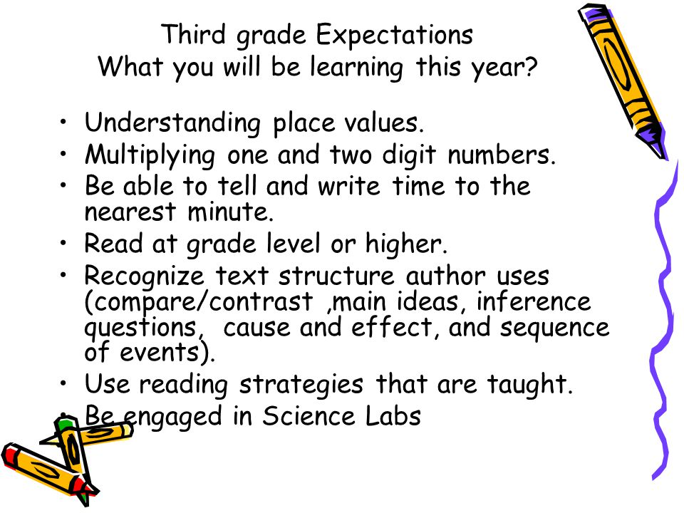 Third grade Expectations What you will be learning this year.